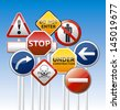 Isolated vector danger road board, warning, prohibition collection with reflection. - stock photo