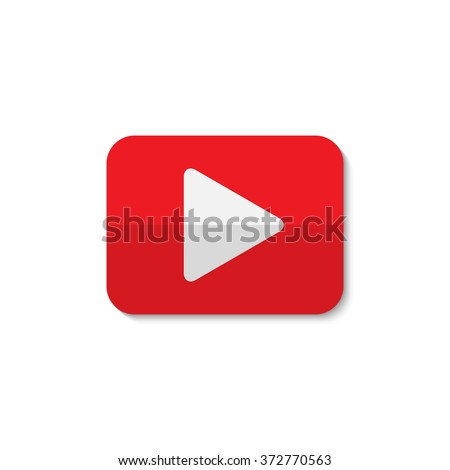 Isolated vector play sign.Red and white digital element. Designed media button. Audio video player digital symbol. Rectangular app logo.