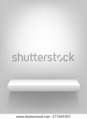 Isolated vector white shelf for presentations and demonstrations of products and goods on a light background