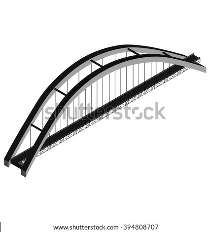 Isometric arch bridge, vector