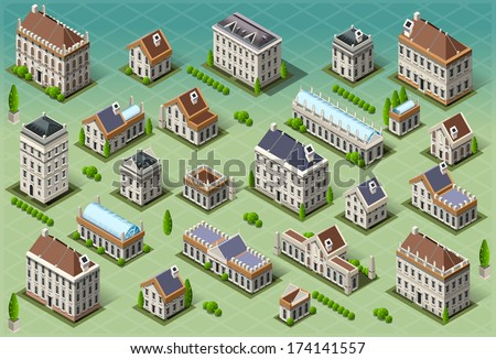 Isometric building city palace private real stock vector for 3d house building games online