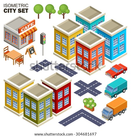 Isometric city set. vector