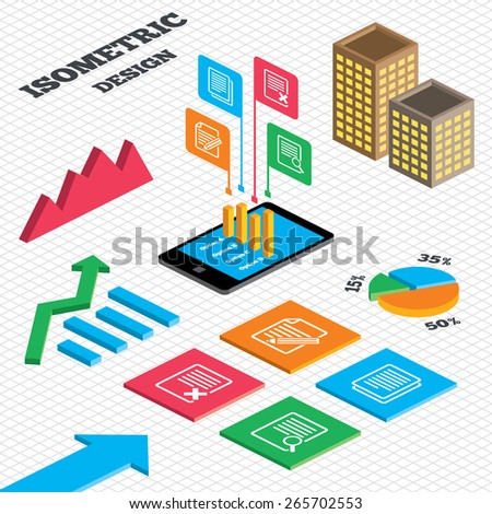Isometric design. Graph and pie chart. File document icons. Search or find symbol. Edit content with pencil sign. Remove or delete file. Tall city buildings with windows. Vector