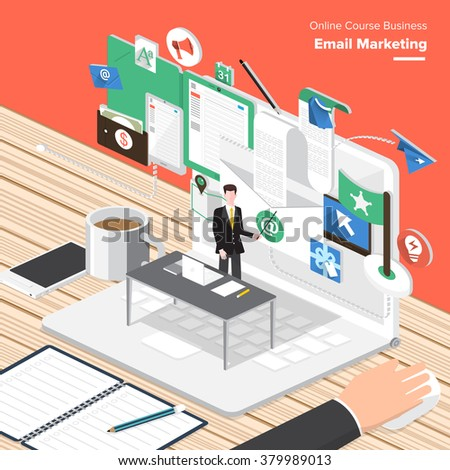 Flat design concepts email marketing web stock vector for Custom marketing materials