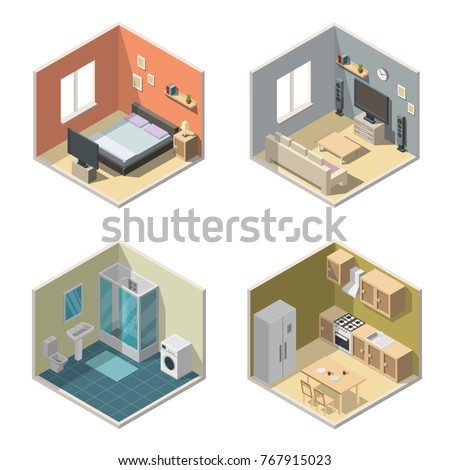 Isometric interior vector illustration modern set of bathroom  kitchen living room bedroom Vector Low Poly Home Rooms Stock 580842049