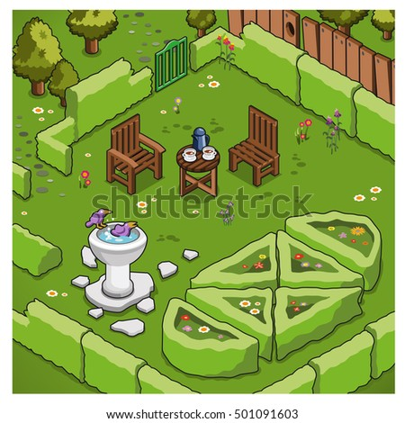 Isometric miniature garden with wooden chairs, bird bath and ornamental scrubs (vector illustration)