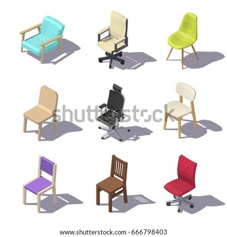 Isometric Office Chairs On White Background Vector Low Poly Illustration
