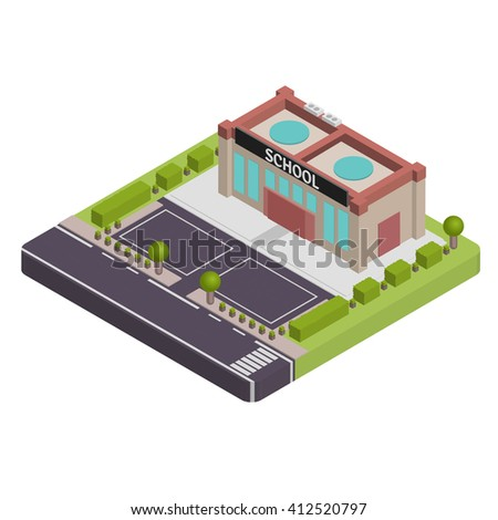 Isometric school vector illustration