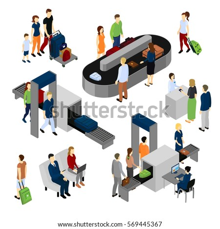 Isolated Group Diverse Isometric Business People Stock