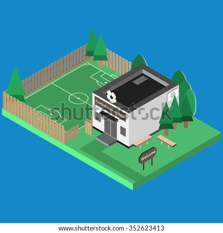 Isometric sport build vector isolated. Football hall and outdoor isometric training football  court. 3D sport location. Illustration of isometric sport hall vector. Flat style objects for app, game