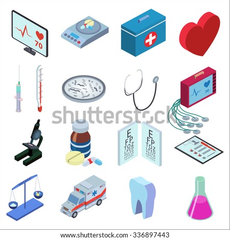 Isometric style illustration icons set of medical inspection. Red heart, medical scales, thermometer, syringe, bacteria, microscope, packaging tablets, tooth, tube, medical kit, heart monitor