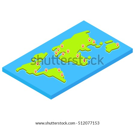 Isometric world map stylized flat vector stock vector 508541554 isometric world map with main capital cities stylized 3d flat vector illustration gumiabroncs Gallery