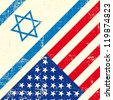 Israel and american grunge flag - stock photo