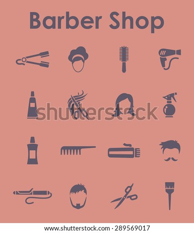 It is a set of barber shop simple web icons