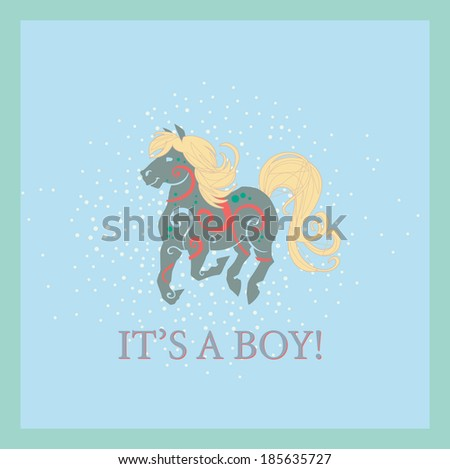 It's a boy card with a moss green horse on a blue background