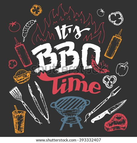 barbecue grill hand drawn elements set stock vector cookout clip art images cookout clip art images