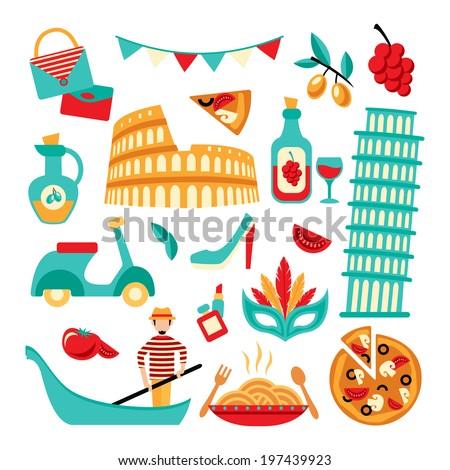 ... pizza spaghetti pisa tower isolated vector illustration - stock vector