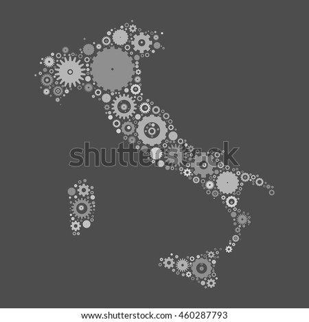 Italy map silhouette mosaic of cogs and gears. Grey vector illustration on gray background.