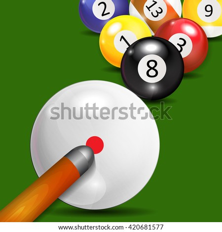 Ivories, Billiard Balls Background Vector Illustration