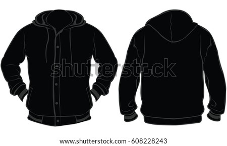 Blank Sweatshirt Mock Template Front Back Stock Photo 658593055