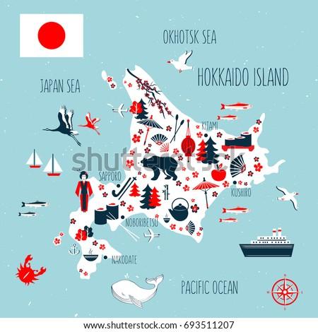 Japan Cartoon Travel Map Vector Illustration Stock Vector - Japan map cartoon
