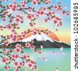 Japanese background with mountain and sakura blossom- Japanese cherry tree, symbols of oriental culture. Beautiful Japanese landscape, vector illustration. - stock vector