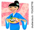 Japanese woman in kimono serving sushi on a cherry blossom background - stock vector