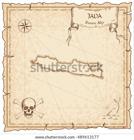 Java old pirate map. Sepia engraved parchment template of treasure island. Stylized manuscript on vintage paper.
