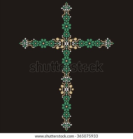 Jesus Christ. Vintage beautiful ornate Christian Cross from brilliant stones, emerald and gold. Rhinestone applique, decoration for clothing (abstract vector art illustration)