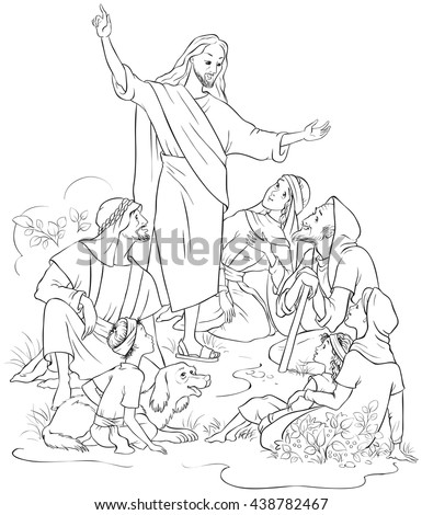 Jesus Preaches the Gospel. Christian cartoon coloring page. Also available colored version