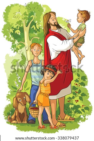 Jesus with Children. Also available outlined (coloring book) version