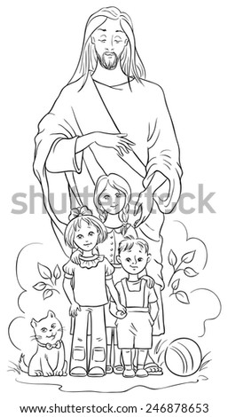 jesus with children vector christian cartoon black and white illustration coloring page also - Jesus Children Coloring Page