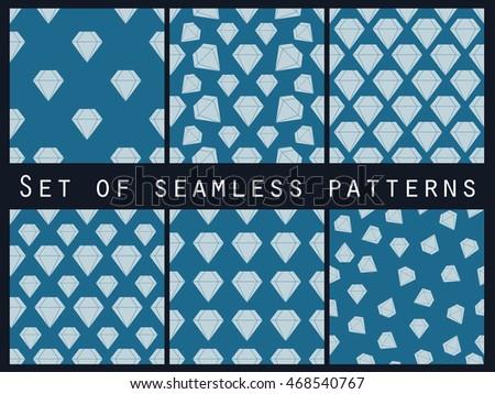 Jewelry Set Seamless Patterns Diamonds Black Stock Vector ...