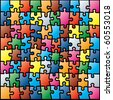 Jigsaw Puzzle Colorful Pattern. Vector Illustration - stock photo