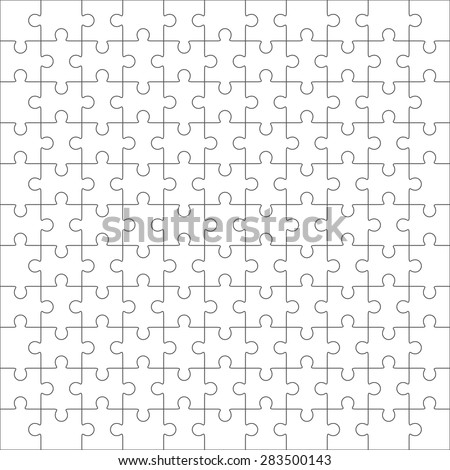 Jigsaw Puzzle Nine Vector Templates Set Stock Vector