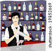 Job Character on blue background - smiling young man with collection of alcoholic beverage and cocktail shaker in drinking bar - stock photo