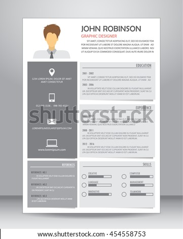 job resume cv template layout template stock vector 440311300