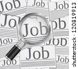 Job search concept with magnifying glass, vector eps10 illustration - stock