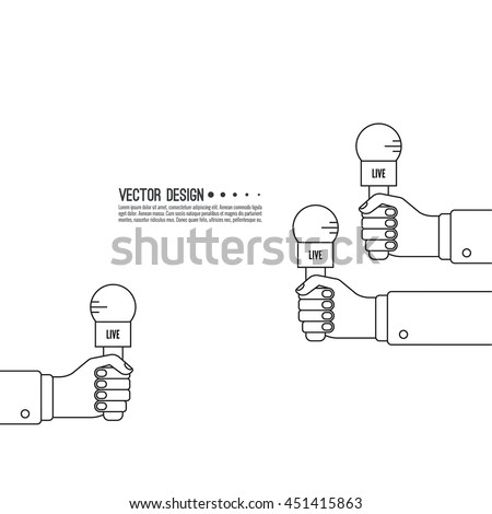 Journalism concept live news template microphone stock vector live news template with microphone symbol breaking news on tv radio pronofoot35fo Images