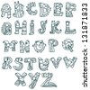 Joyful Cartoon font - from A to Z, monster hand drawn letter, funny vector Alphabet for Design - stock photo