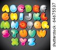 Joyful Cartoon font - letter from A to Z, vector clip art - stock photo