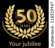 Jubilee, golden laurel wreath 50 years - stock photo