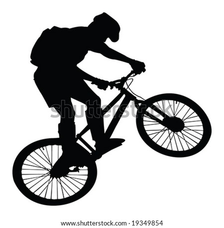 jumping cyclist silhouette vector isolated over white background