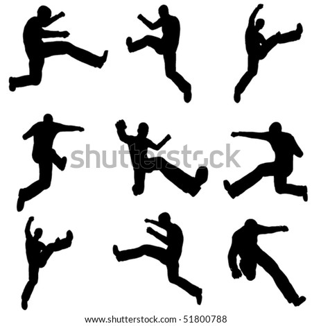 jumping man silhouette set