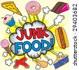 Junk Food Dieting Comic book inspired explosion of everything bad for your health, individually grouped. - stock vector