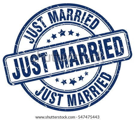 just married. stamp. blue round grunge vintage just married sign