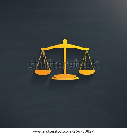 Justice scale on blackboard background,clean vector
