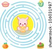 Kangaroo and foods : round maze Game with Solution, vector illustration - stock vector