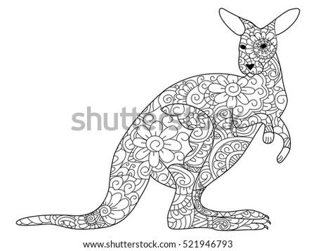 Kangaroo Animal Coloring Book Adults Raster Stock Illustration