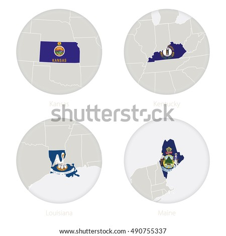 Kansas Kentucky Louisiana Maine Us States Map Contour And National Flag In A